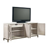 Belgian Cottage Mirrored TV Entertainment Center- Antiqued White