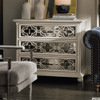 Belgian Cottage 3-Drawers Mirrored Chest - Antiqued White, quatrefoil