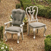 Belgian Country Gray Velvet Upholstered Dining Room Cabriole Arm Chairs