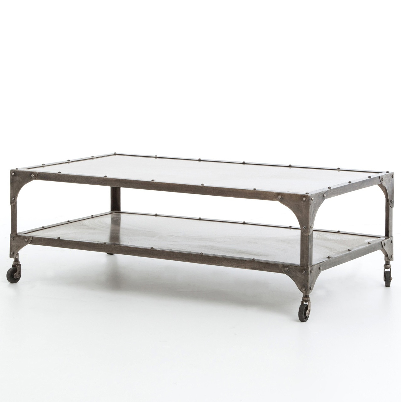 Antiqued Nickel Element Coffee Table Zin Home
