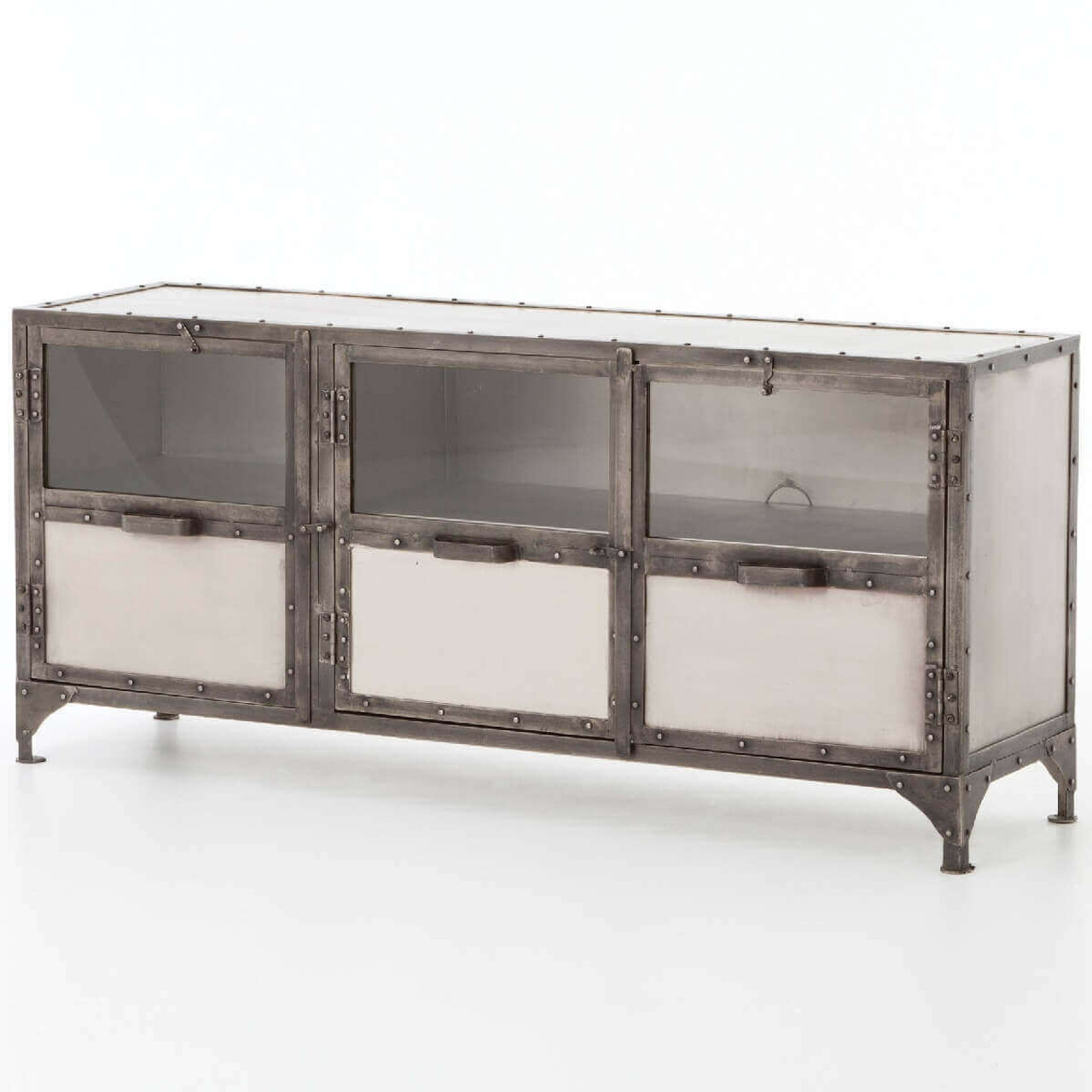 Element Industrial Iron Media Cabinet -Nickel - Element Industrial Tv Media Chest In Antique NIckel Finish Zin Home