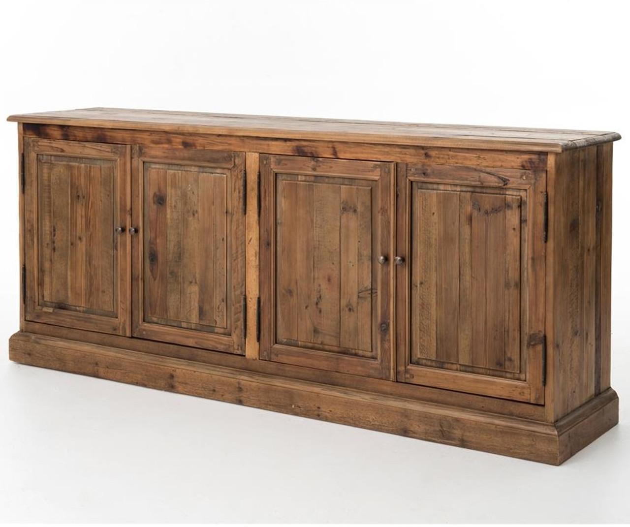 salvaged wood 4 door buffet sideboard 79 zin home rh zinhome com reclaimed wood buffet with french hardware reclaimed wood buffett