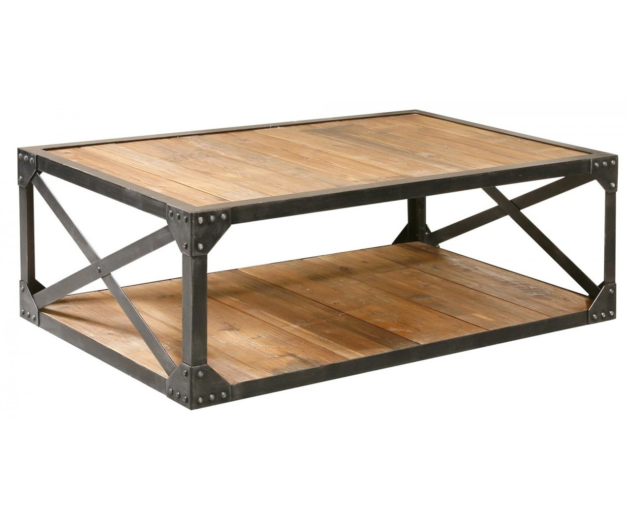 Industrial Metal and Wood Coffee 51 Table Rectangular Cocktail
