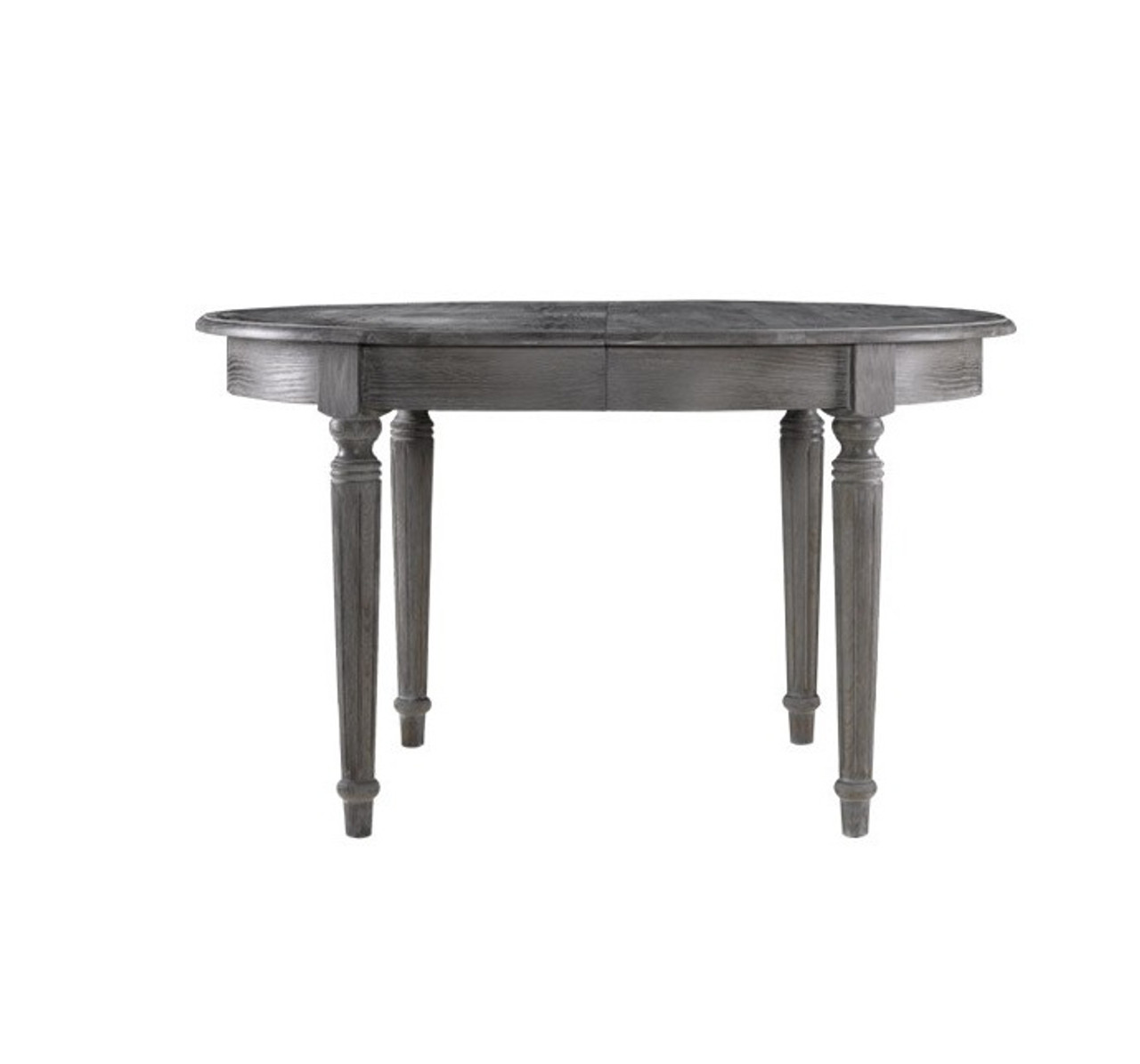 French Oak Gray Round Extendable Dining Table Zin Home - 48 round oak dining table