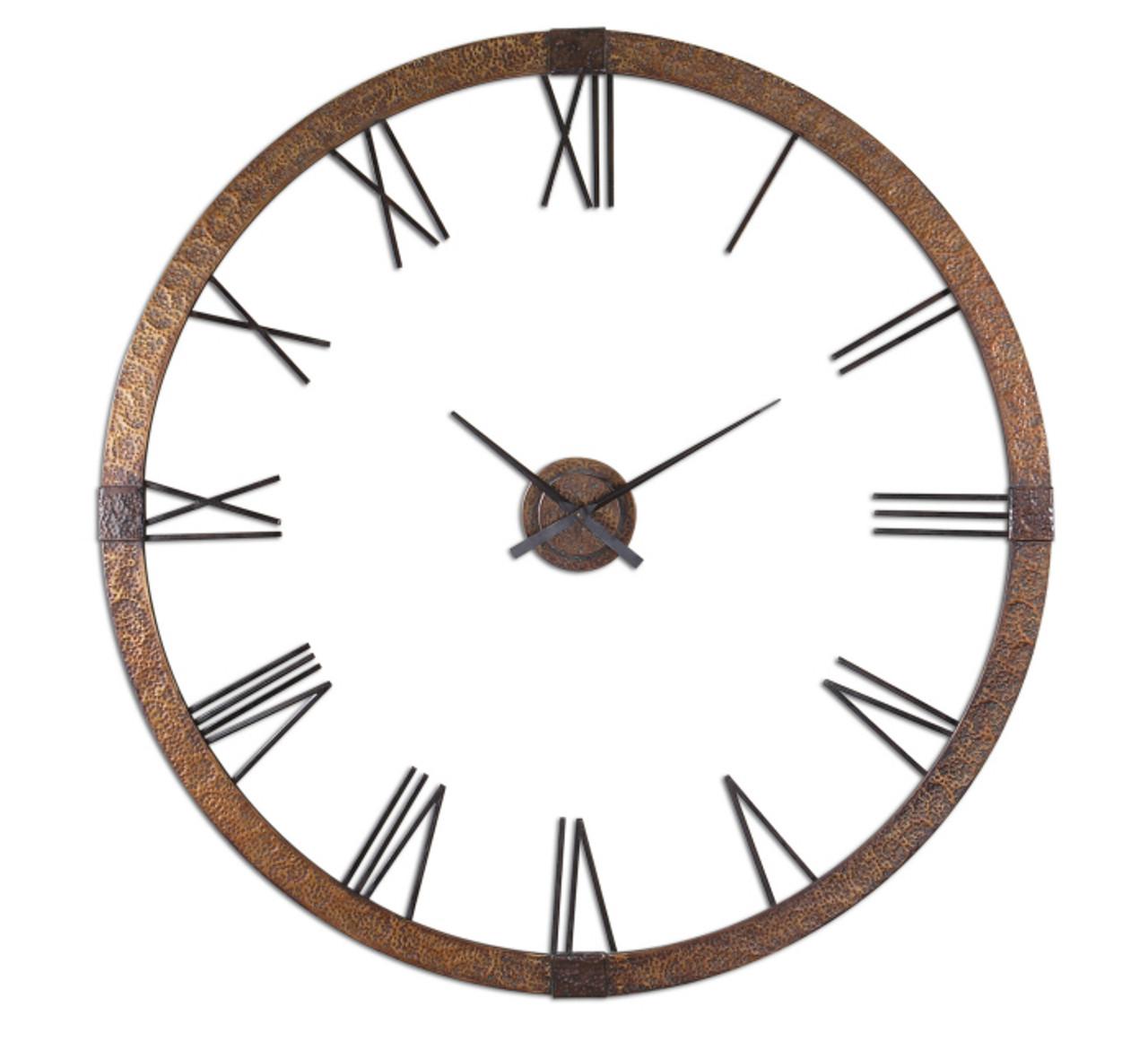 Amarion Rustic Metal Oversized Wall Clock 60 Zin Home