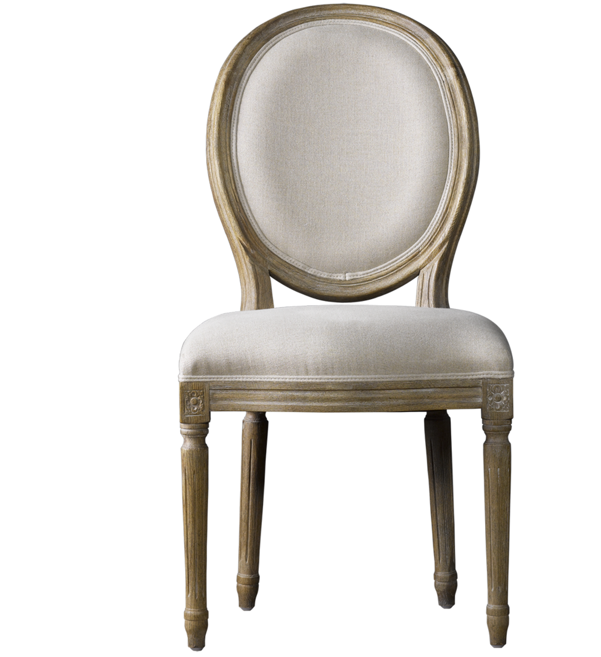 Louis Vintage Round Dining Side Chair  Linen