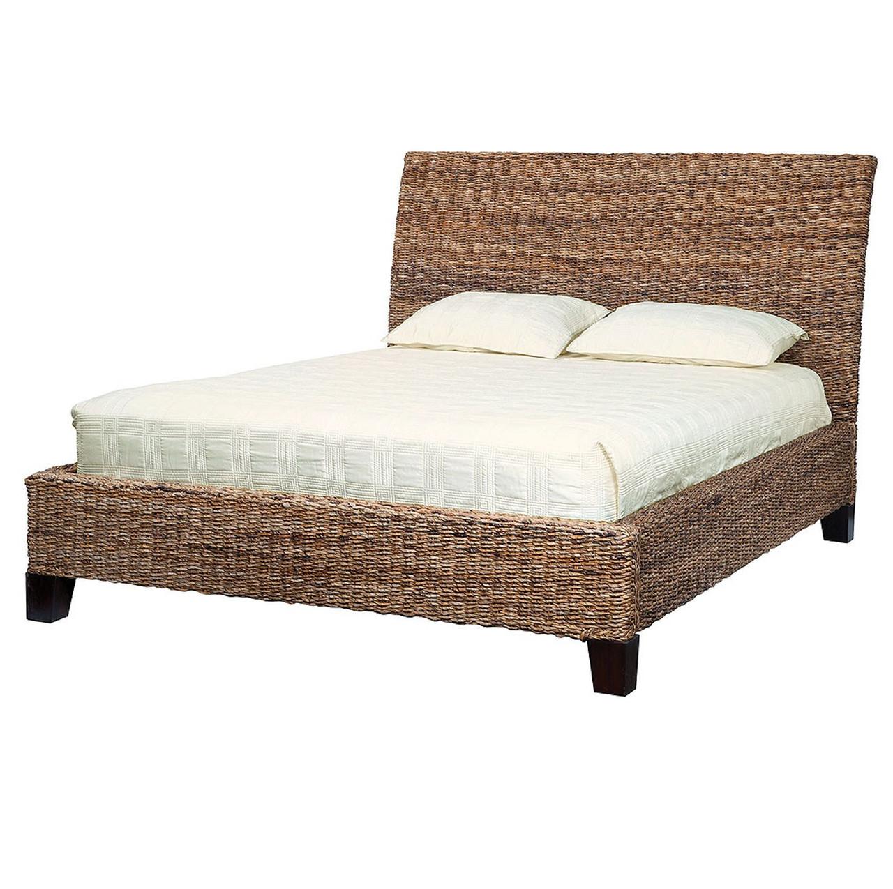 Lanai Banana Leaf Woven King Platform Bed | Rattan King Size Beds ...