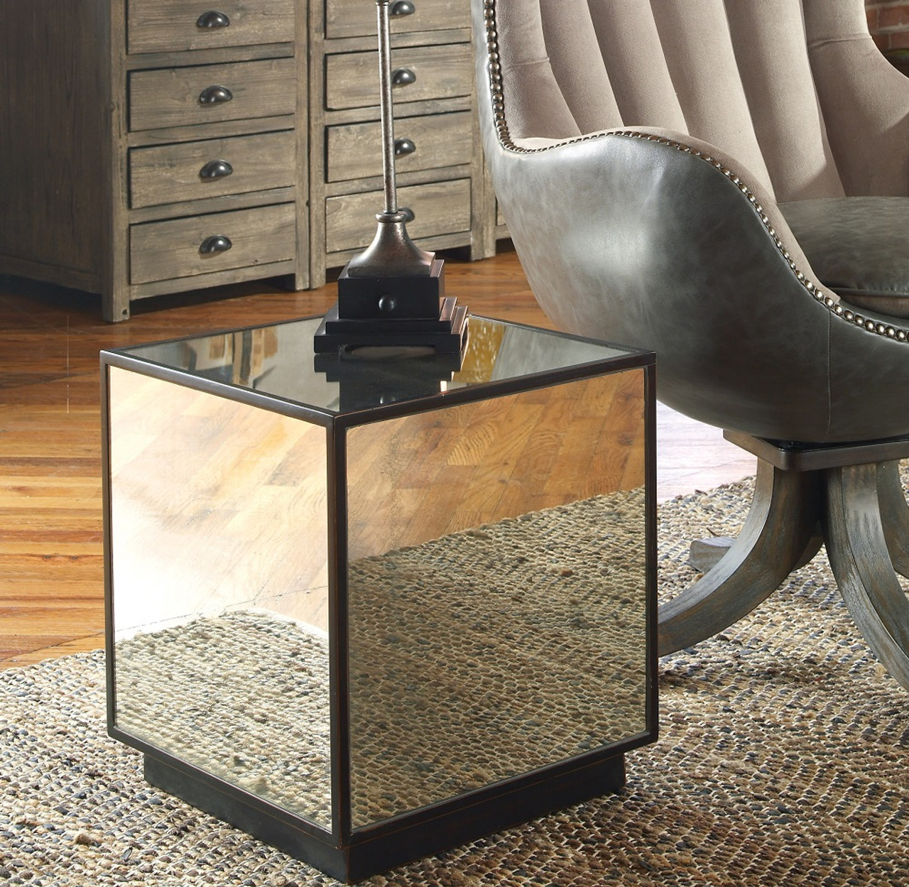 mirrored side table. Matty Cube Mirrored Side Table
