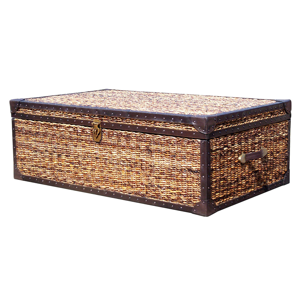 Lanai Trunk Coffee Table X Wicker Banana Leaf Woven Trunk - Banana leaf coffee table