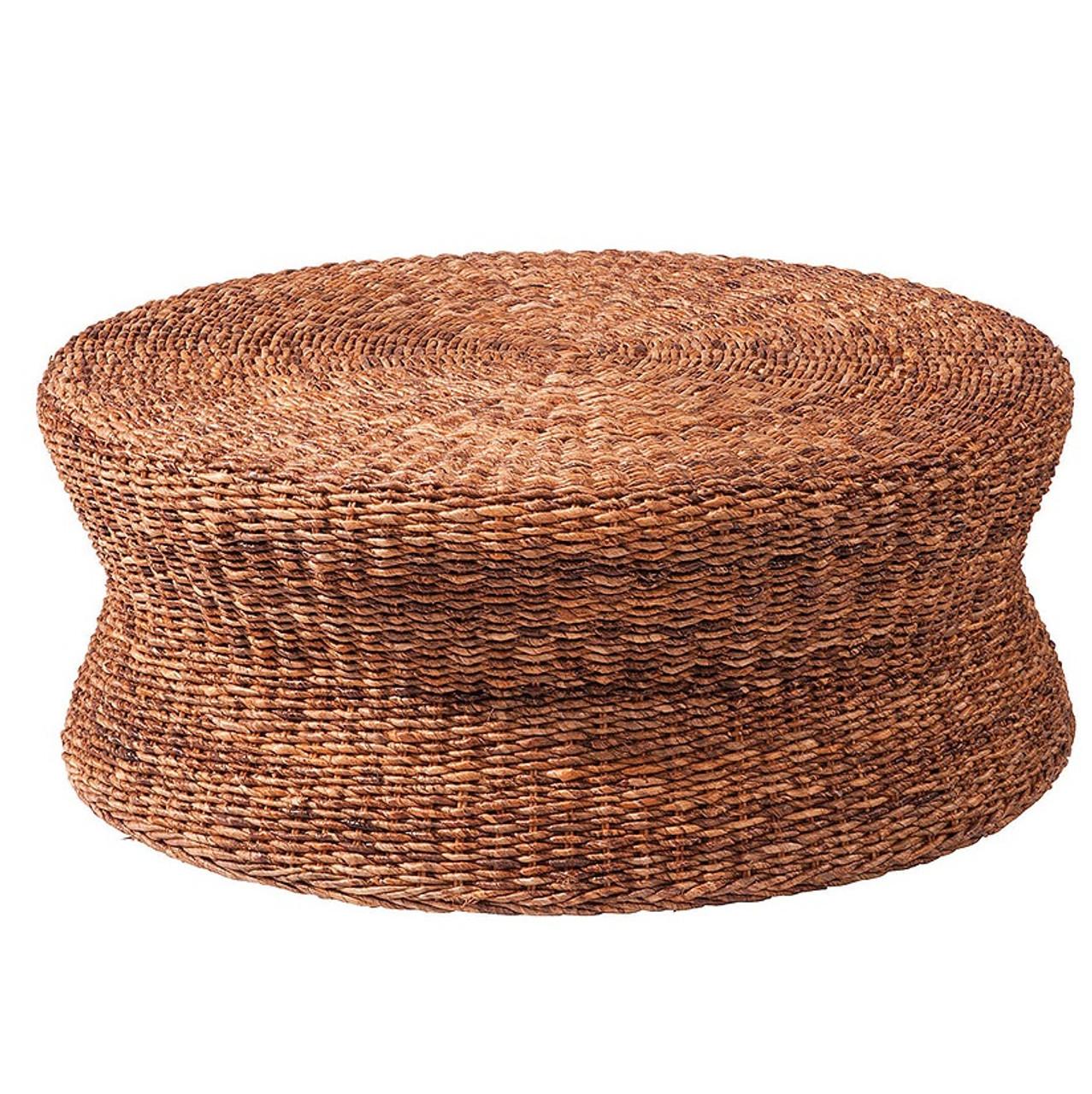 Lanai Woven Round Coffee Table Ottoman
