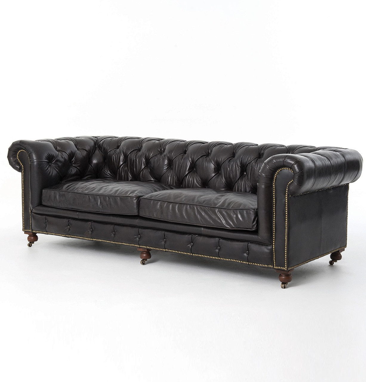 conrad 96 vintage black leather chesterfield sofa zin home. Black Bedroom Furniture Sets. Home Design Ideas