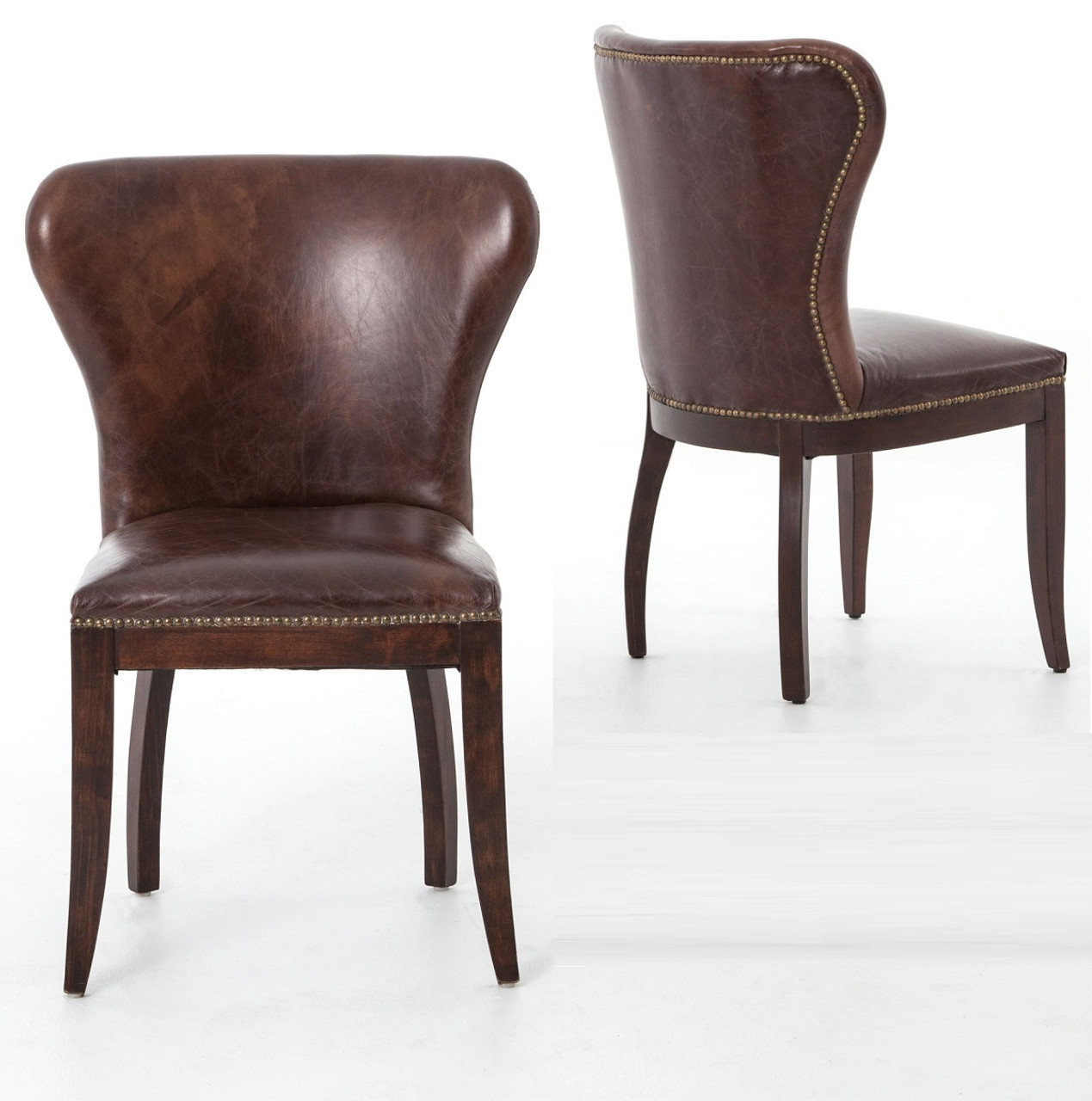 Charmant Richmond Vintage Tan Leather Wingback Dining Chair