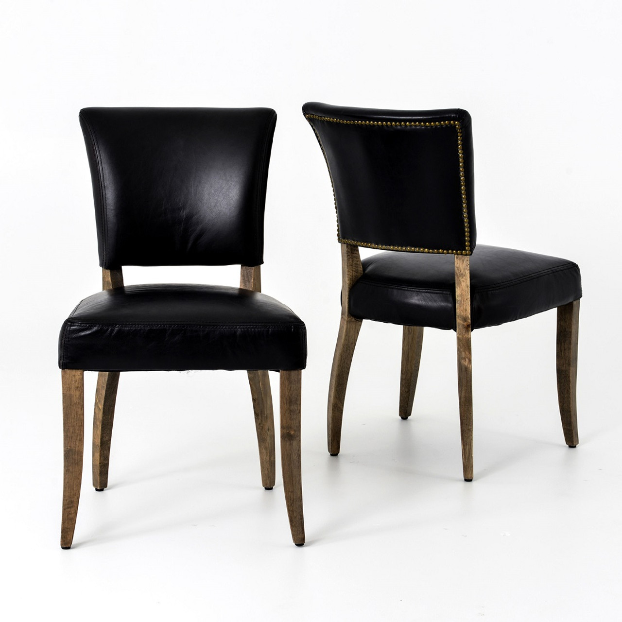 black leather dining chairs Mimi Saddle Black Leather Dining Chair | Zin Home black leather dining chairs