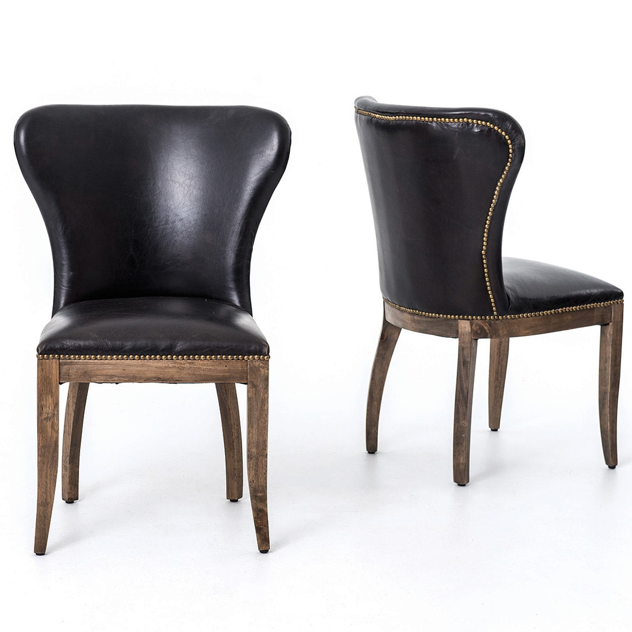 black leather dining chairs Richmond Black Leather Wingback Dining Chair with Weathered Oak  black leather dining chairs