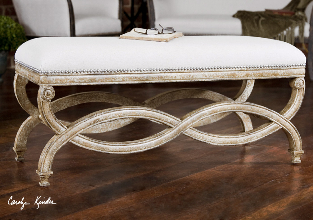 bed end table. Karline Linen Uplostered Bed End Bench Table