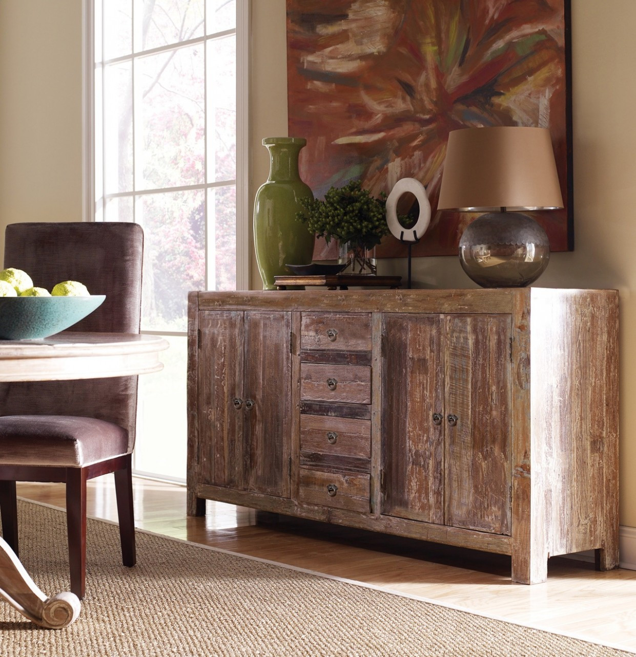 Hampton Rustic Teak Wood Buffet Sideboard | Zin Home