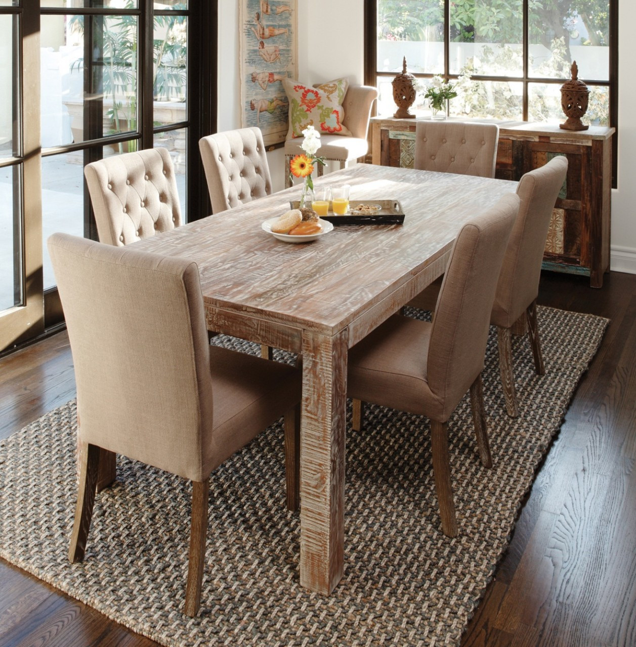 hampton teak wood farmhouse dining room table 60 zin home. Black Bedroom Furniture Sets. Home Design Ideas