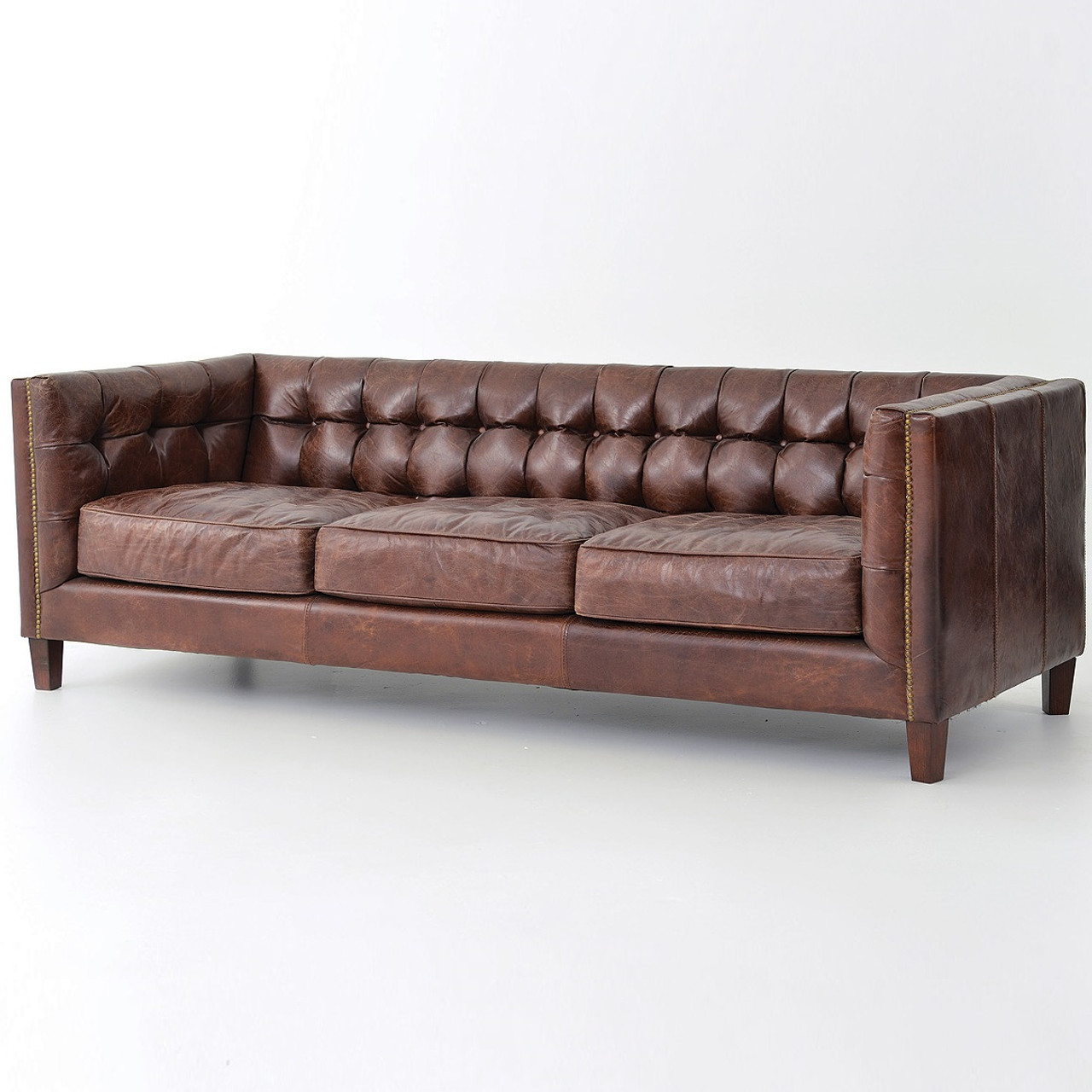 Abbott Vintage Cigar Tufted Leather Sofa Zin Home