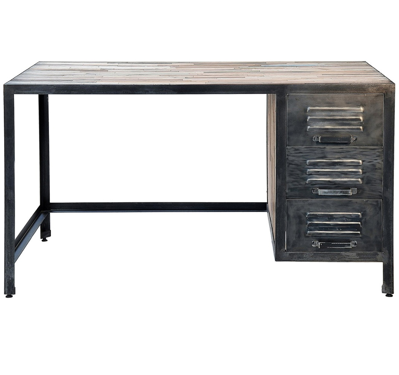 spike industrial 3 drawer desk zin home rh zinhome com metal desk with locking drawers metal desk with drawers and hutch