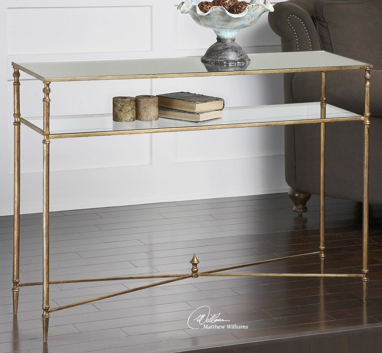 Charmant Henzler Mirrored Gold Leaf Console Table