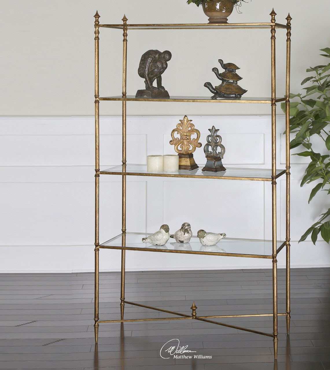 shelf book pin curved etagere metal standing bookcase architectural gold arch
