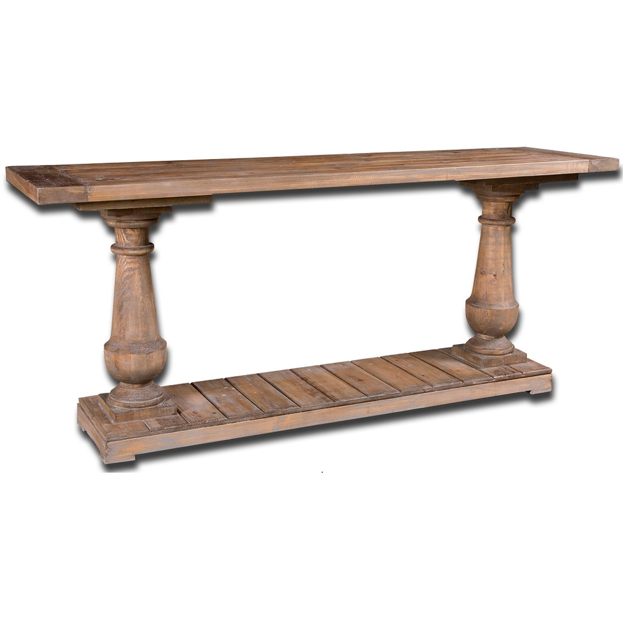 salvaged solid wood rustic console table 71"