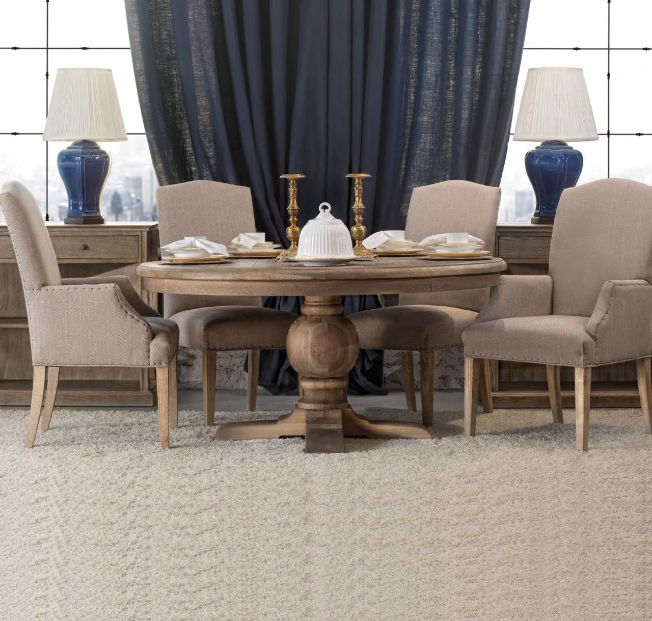 Kingdom Oak Wood Round Pedestal Dining Room Table Design