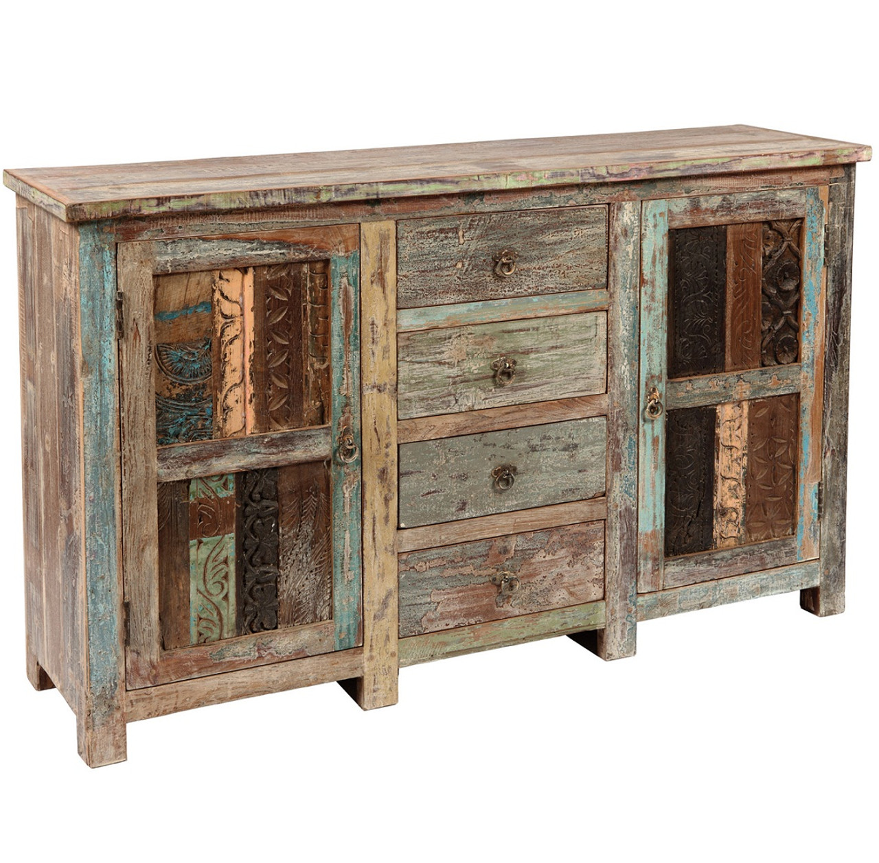shabby chic vintage 4 door sideboard zin home. Black Bedroom Furniture Sets. Home Design Ideas