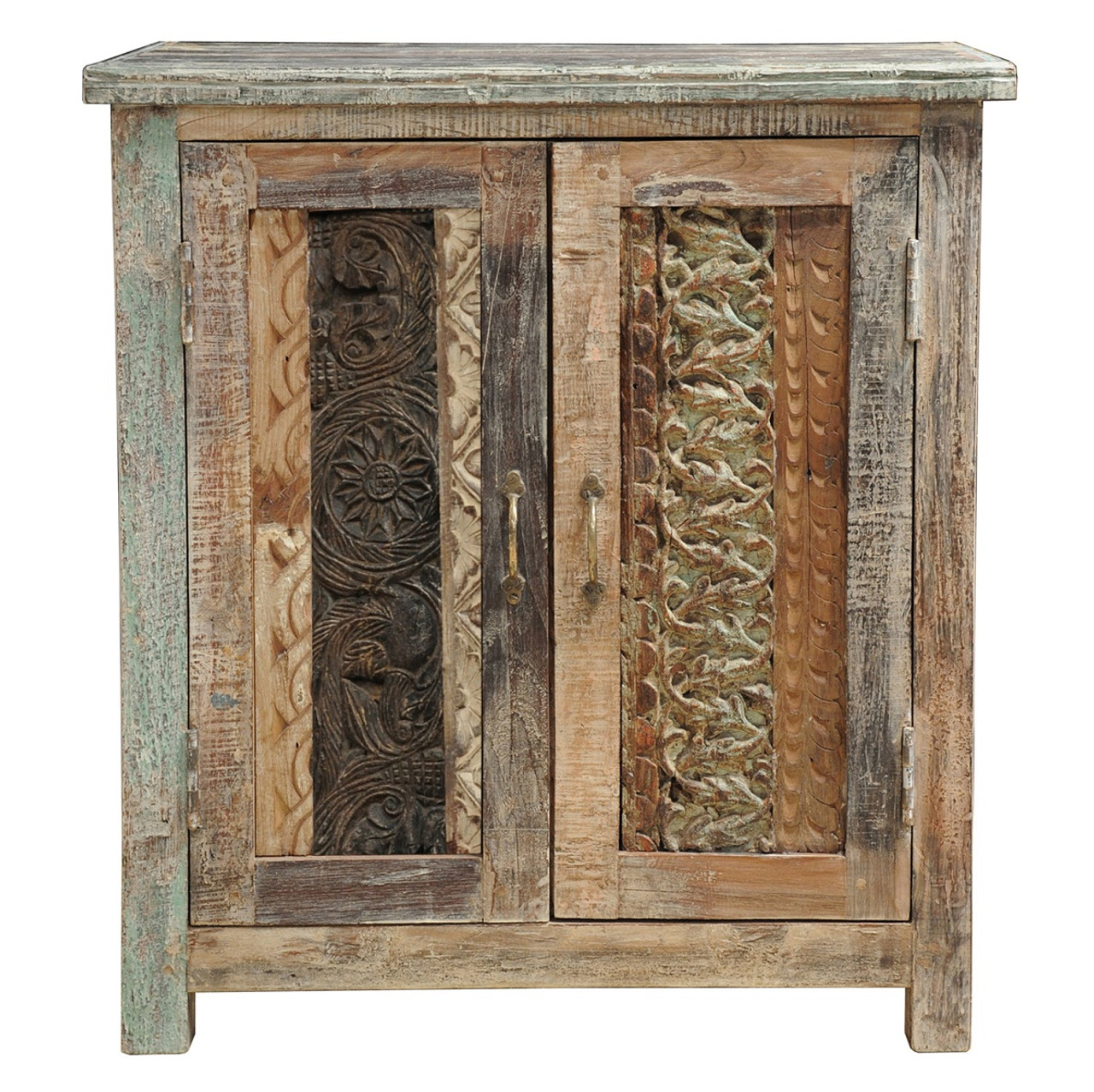 Incroyable Carved Wood Block Cabinet