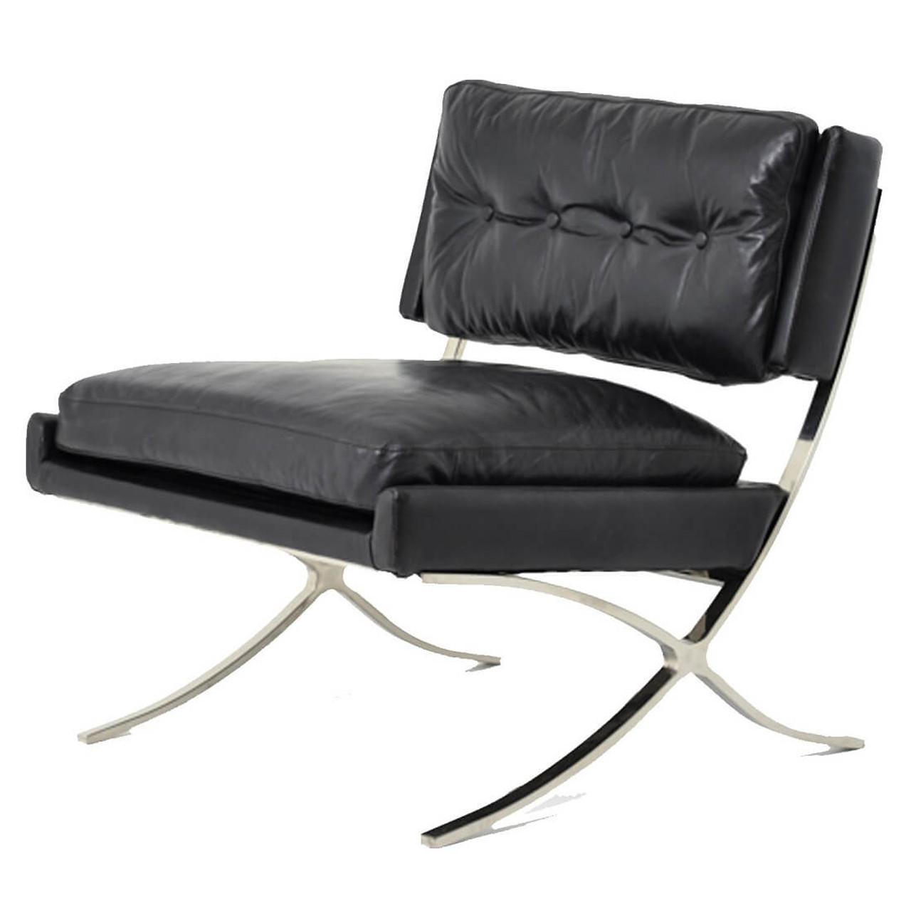 Heathrow Vintage Black Leather Lounge Barcelona Chair