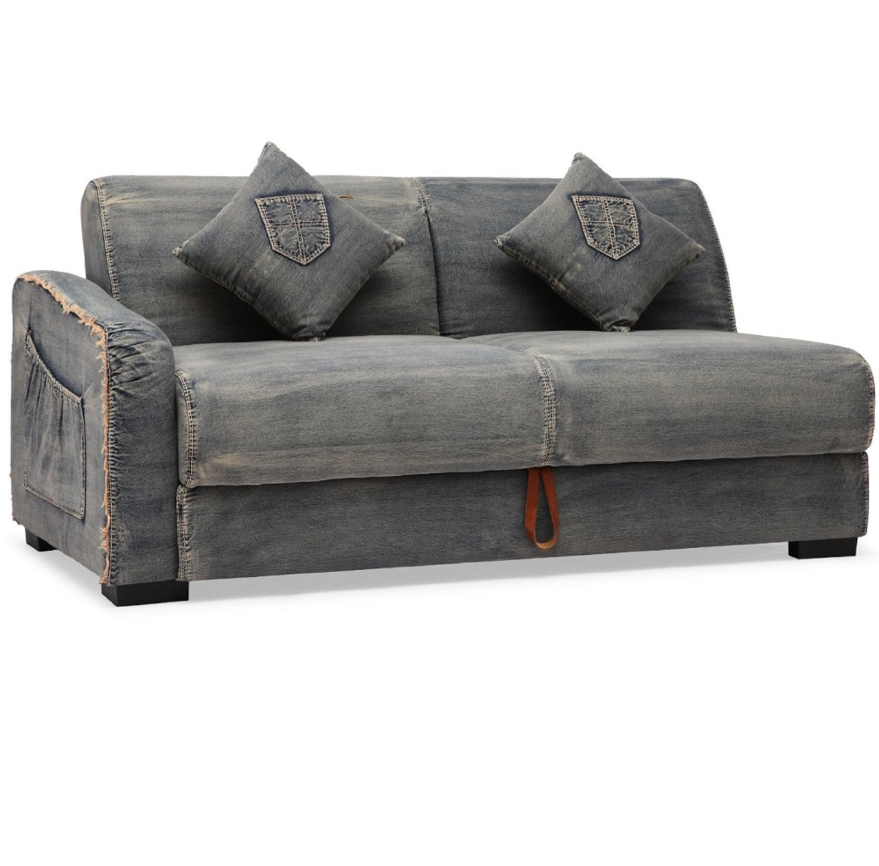Denim sectional sleeper sofa catosferanet for Small sectional sofa denim
