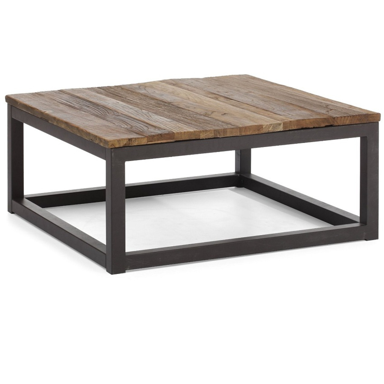 Civic wood and metal square coffee table zin home Wood square coffee tables