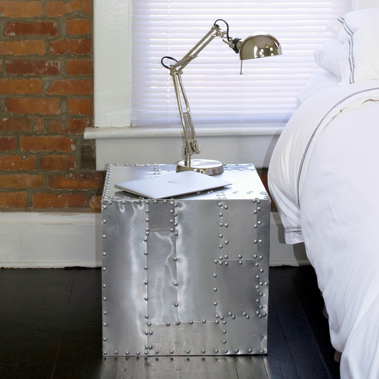 Deco Crate Side Table   Aluminum