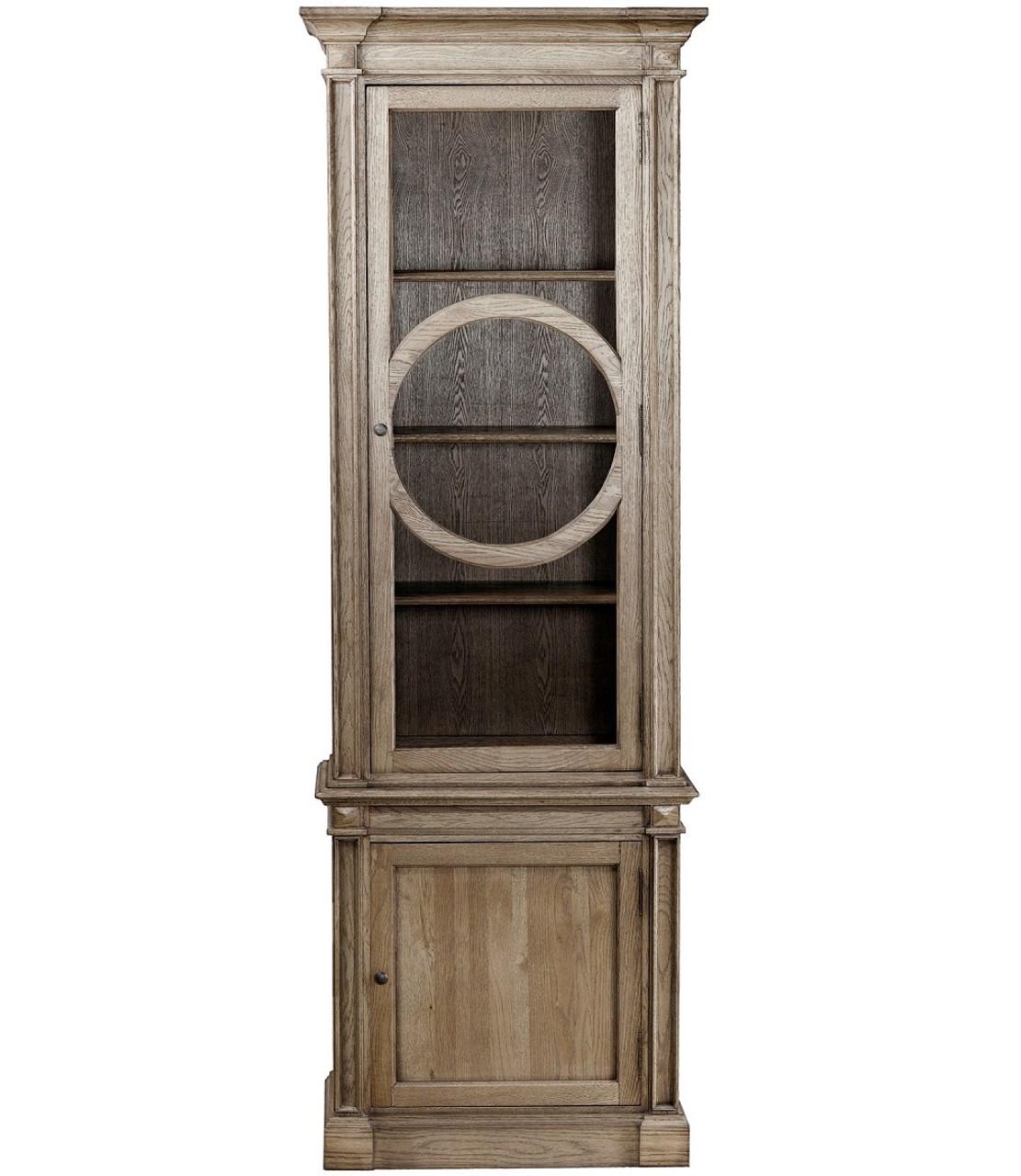 Parisian Vintage Oak Narrow Display Cabinet - Parisian Oak Narrow Display Cabinet Zin Home