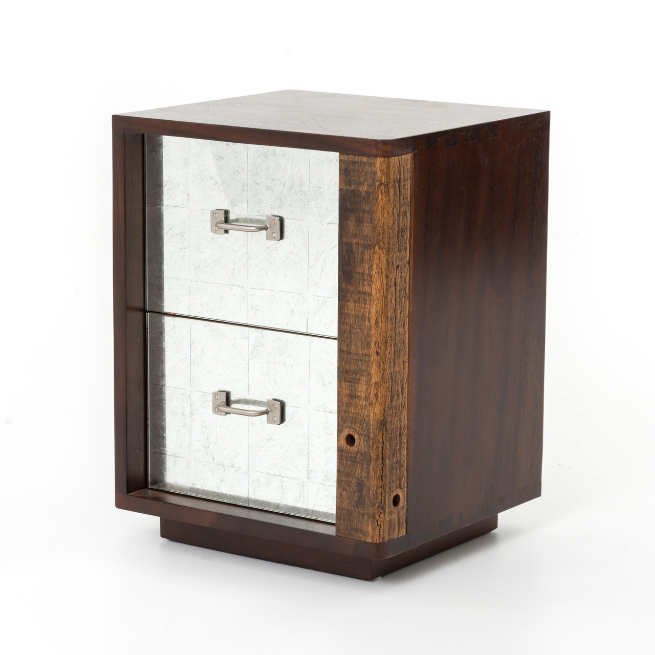 Bina reclaimed wood mirrored nightstand right