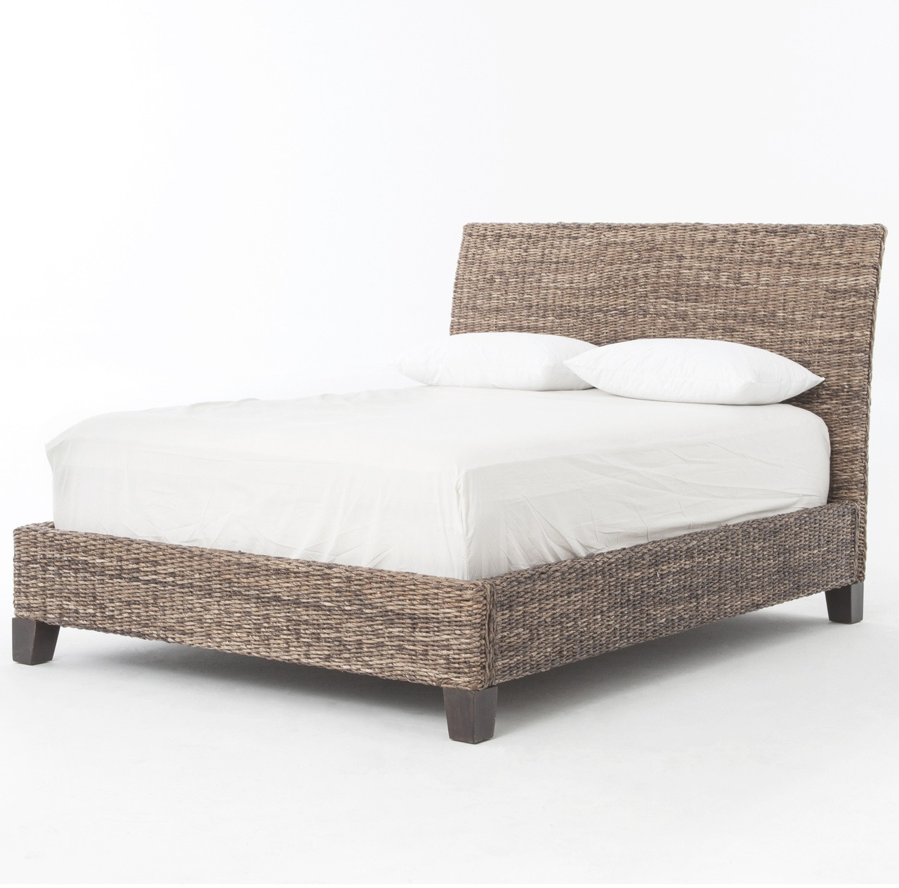 Banana leaf woven king platform bed gray