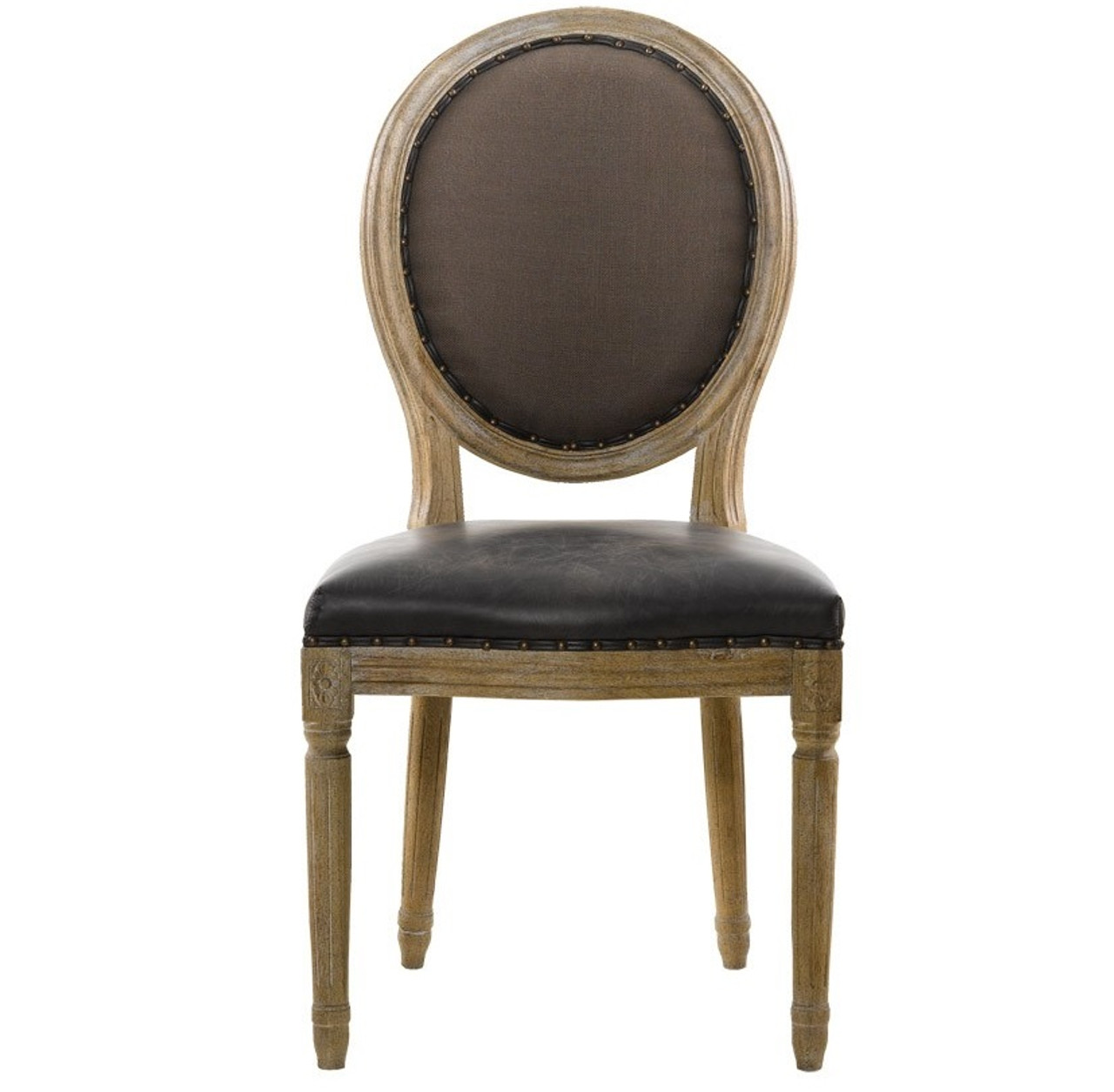 FRENCH VINTAGE LOUIS GLOVE ROUND SIDE CHAIR  sc 1 st  Zin Home & Louis Vintage Leather Round Dining Side Chair | Zin Home