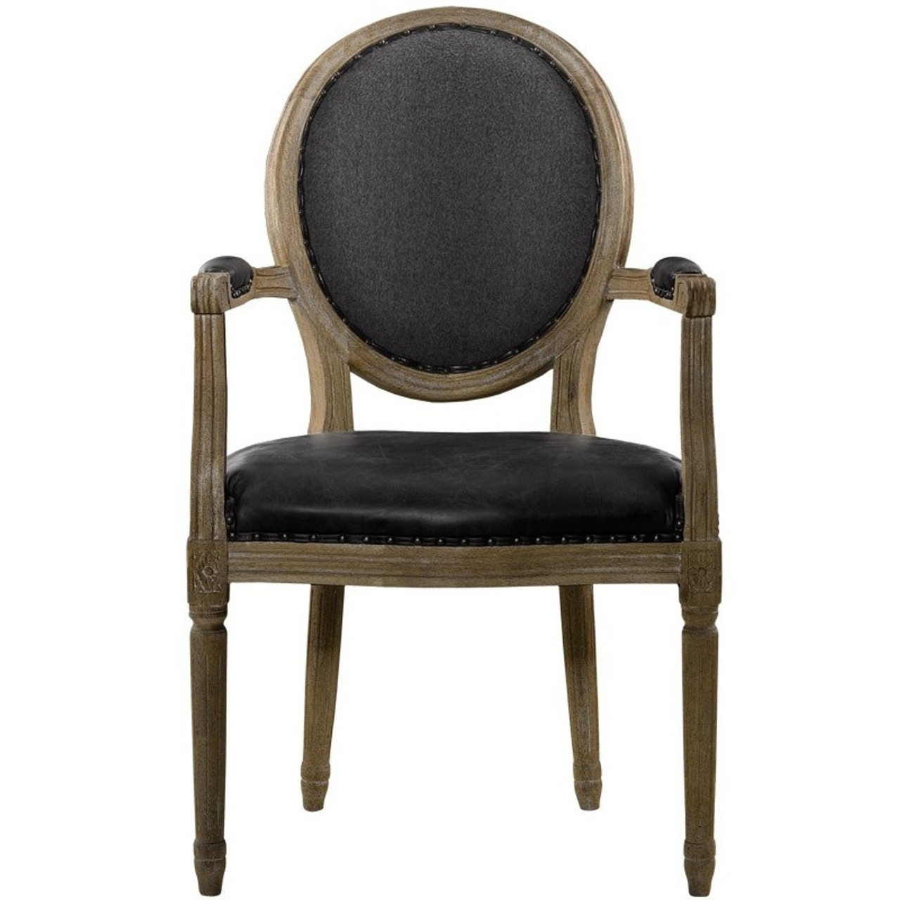 Louis Vintage Black Leather Round Dining ArmChair. FRENCH VINTAGE LOUIS  SLATE ROUND ARM CHAIR