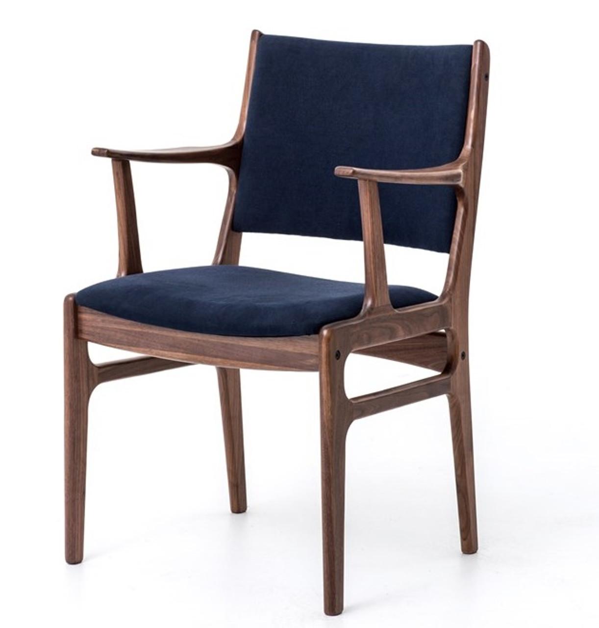 Mid Century Modern Bina Dining Armchair With Blue Canvas