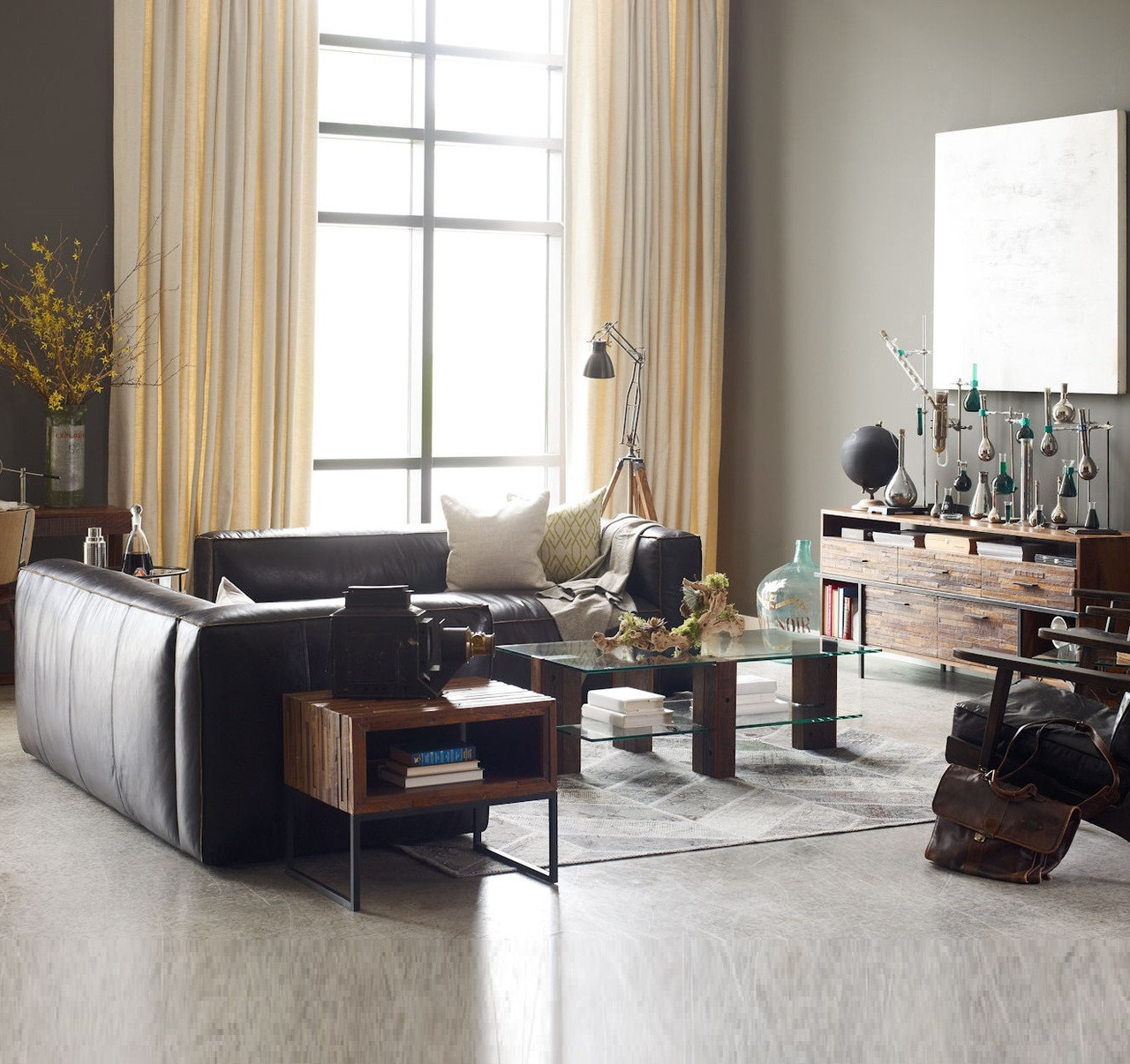 Leather Sectional Sofa Gta: Nolita Saddle Black Leather Modular Sectional Sofa