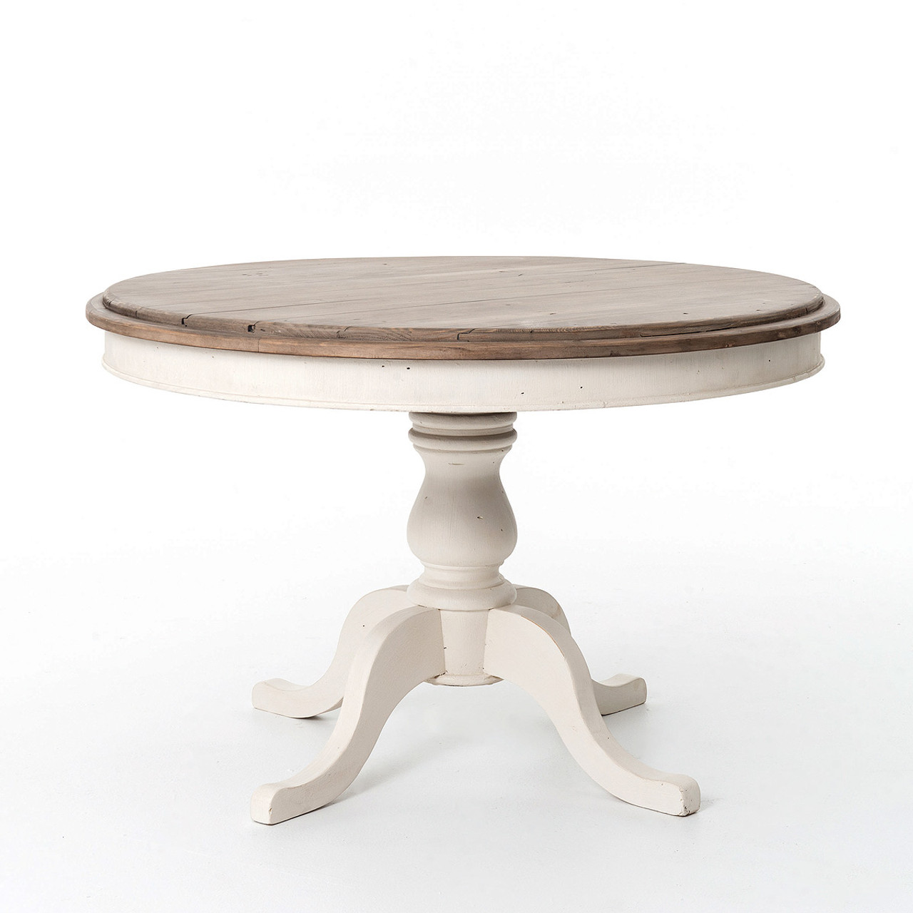 Round Wood Kitchen Tables Cottage round pedestal white kitchen table 47 zin home cottage round pedestal reclaimed solid wood kitchen table 47 in white workwithnaturefo