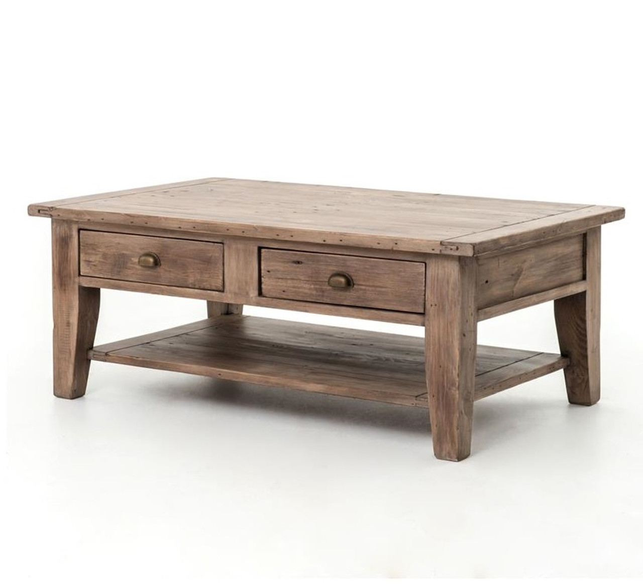 Coastal solid wood rustic coffee table with drawers zin home for Solid wood coffee table