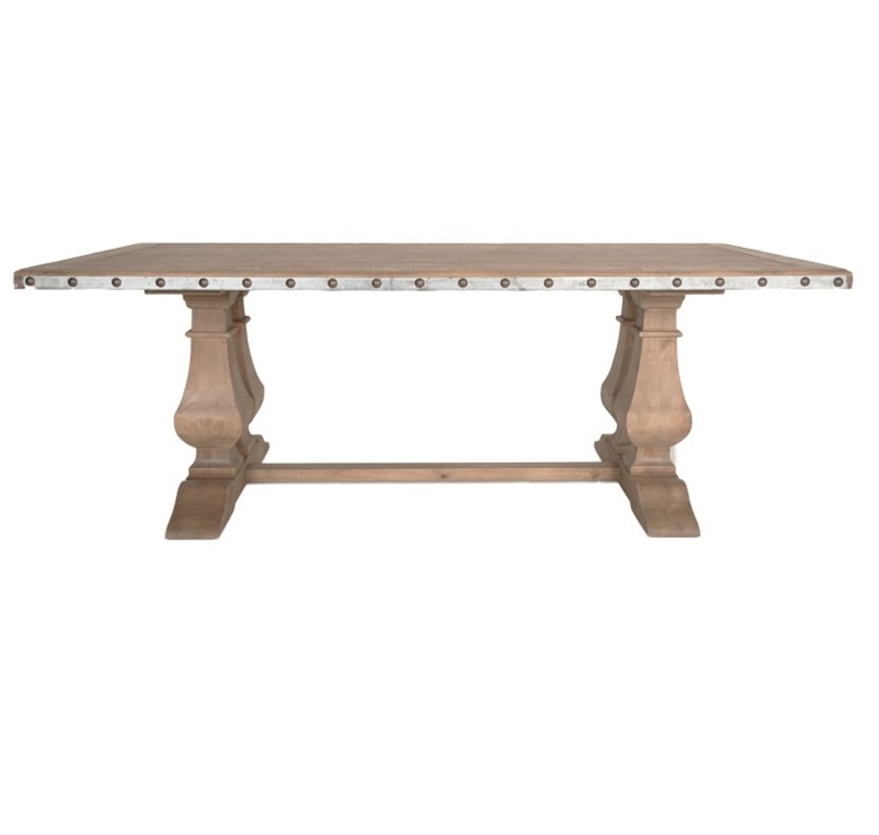 Maddox Barn Wood Double Trestle Dining Table with Antique Zinc Top ...