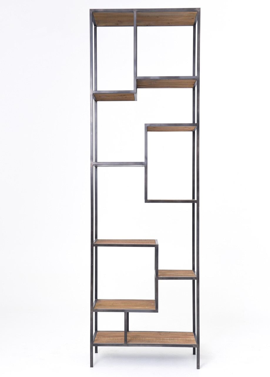 garden wood overstock free bookcases open product and home bookcase shipping industrial today shelf iron ladder
