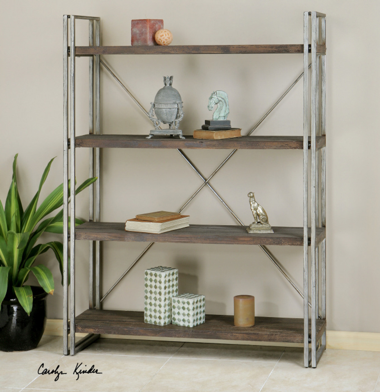 Timber Bookcase: Greeley Industrial Metal And Wood Bookcase