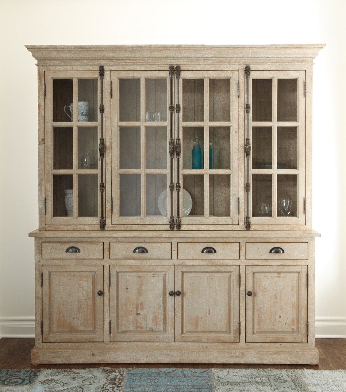 Chateau Hutch Cabinet- Antique White - Chateau Reclaimed Wood Hutch Cabinet- Antique White Zin Home