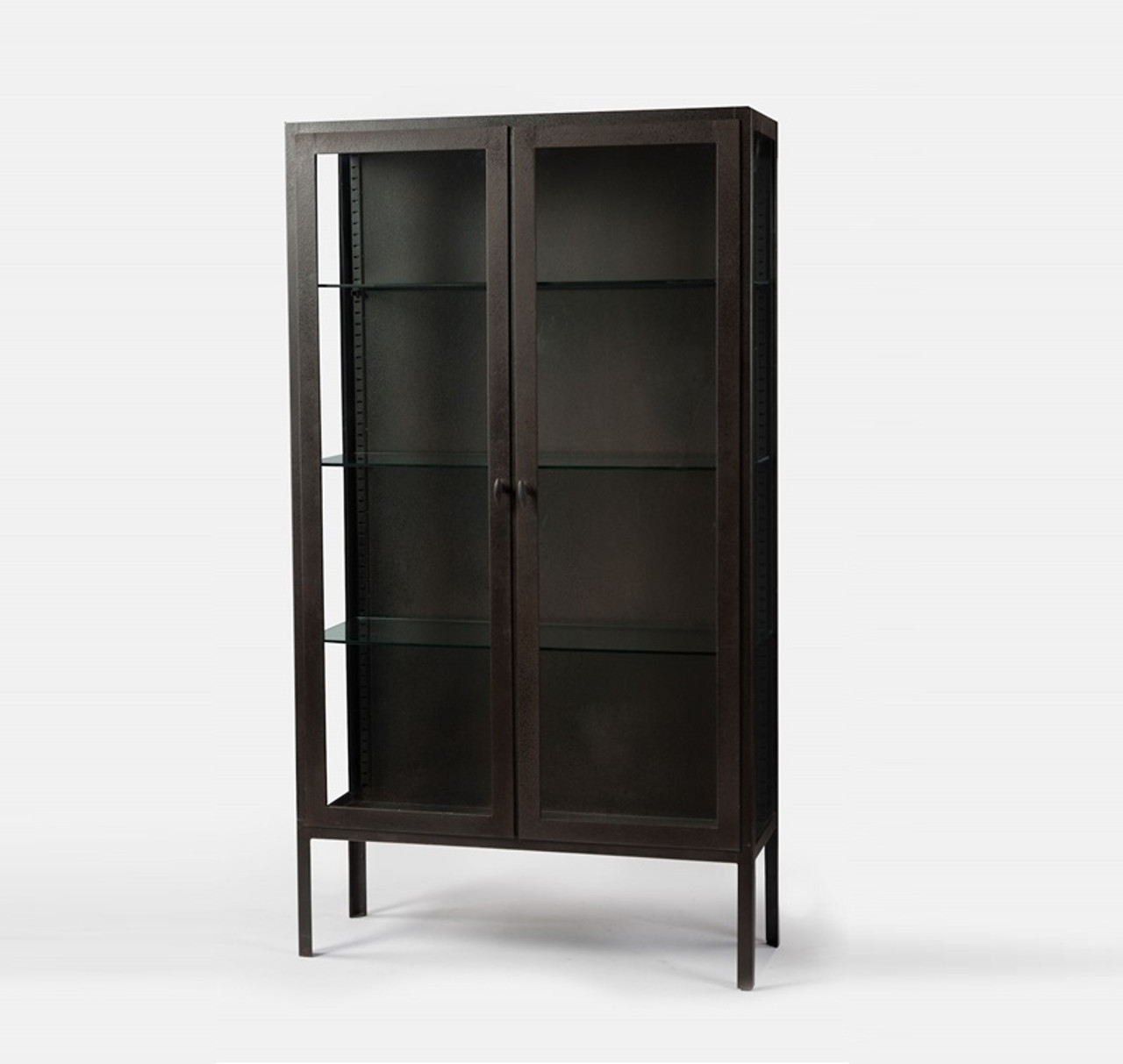 Trenton Aged Black Metal Display Cabinet With Glass Doors
