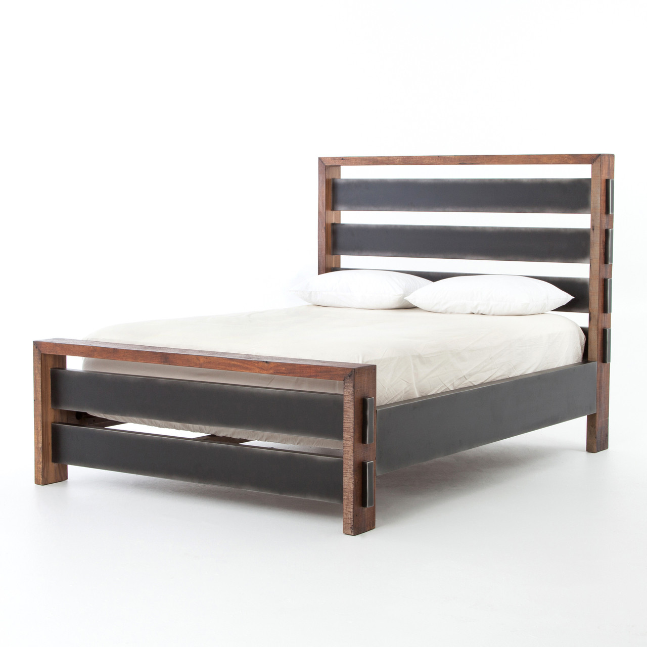 Nash Reclaimed Wood U0026 Steel Queen Platform Bed
