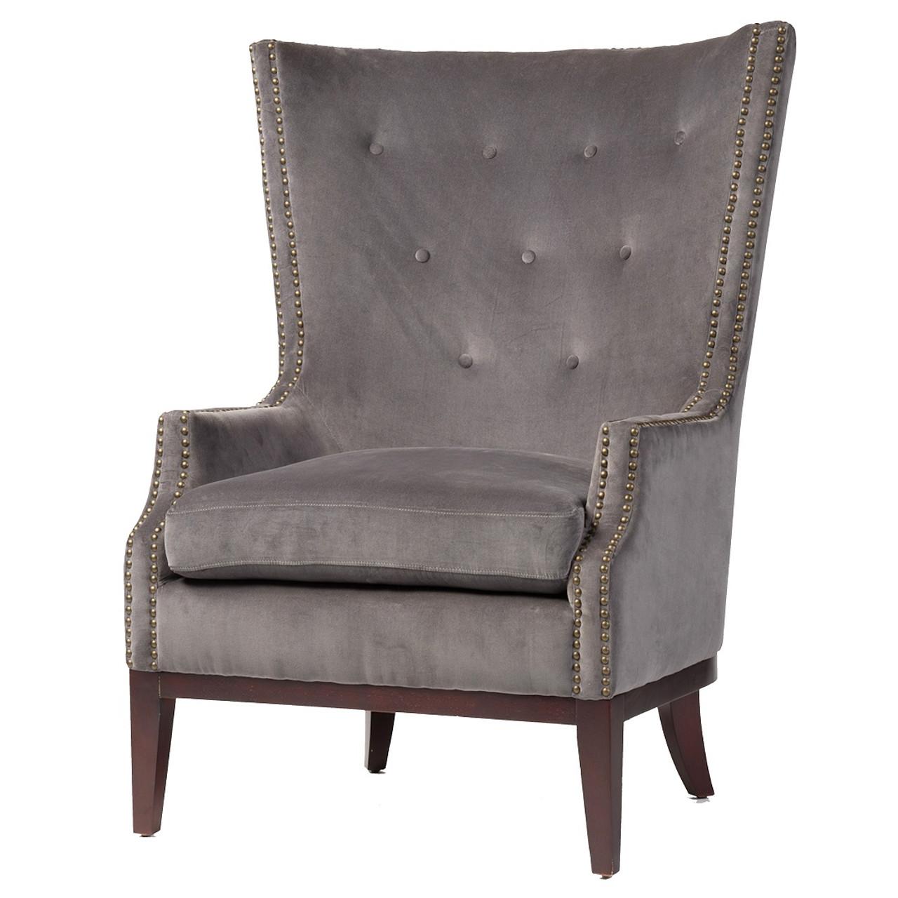 Lillian Grey Velvet Wingback Chair Zin Home