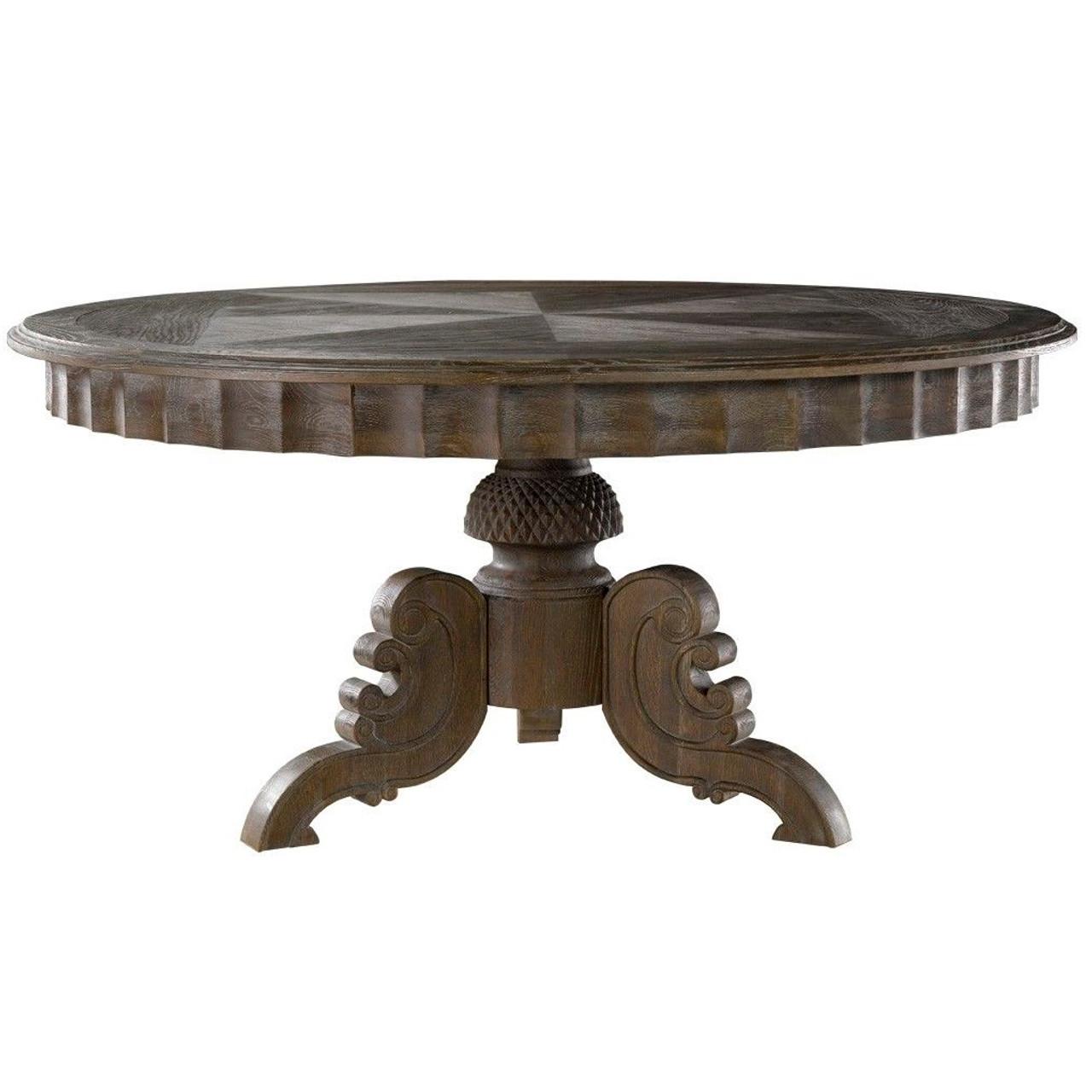 Parisian Gray Oak Round Pedestal Dining Table Zin Home - Round pedestal dining table gray